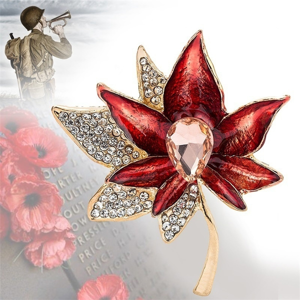 Stylish Women Red Poppy Brooch Pin Crystal Badges Broach Poppies Luxury  Petals
