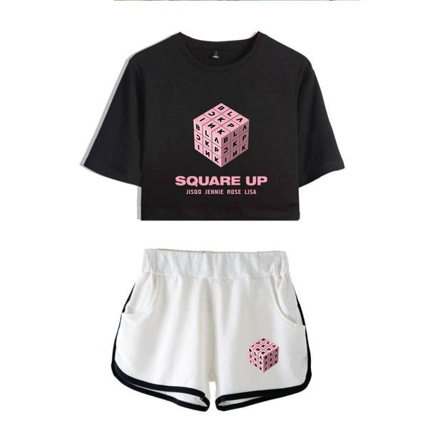Hot Sale Summer Kpop Blackpink Square Up Two Piece Set Women Crop Top And  Pants Set Black Pink Tracksuit Women Fan Support