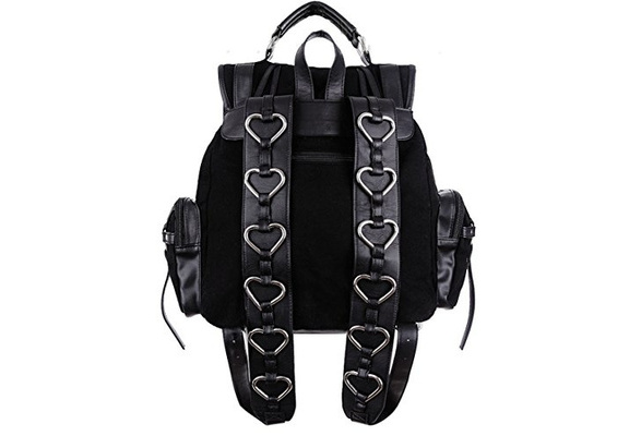 HEAVY HEART BAG Restyle Gothic Black Satchel Backpack