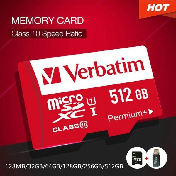 Verbatim Hot 128MB/32GB/64GB/128GB/256GB/512GB Micro SD Card MicroSDHC  Flash Memory Card Class 10 UHS-1 TF Memory Card for Smartphones Cameras MP4