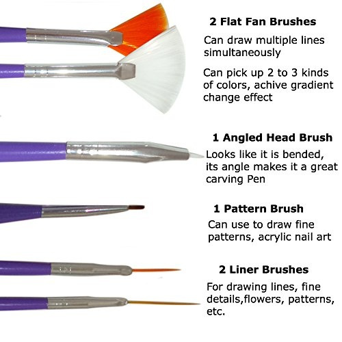 Wish Nail Art Brushes Dotting Pens Marbling Detailing Painting