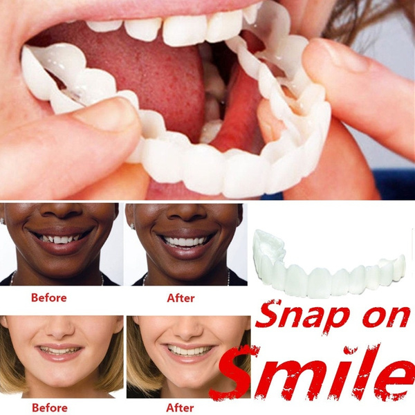 Snap On Smile Perfect Smile Dentures False Teeth Dentures Veneers Cosmetic  Fake Tooth Cover With Containers