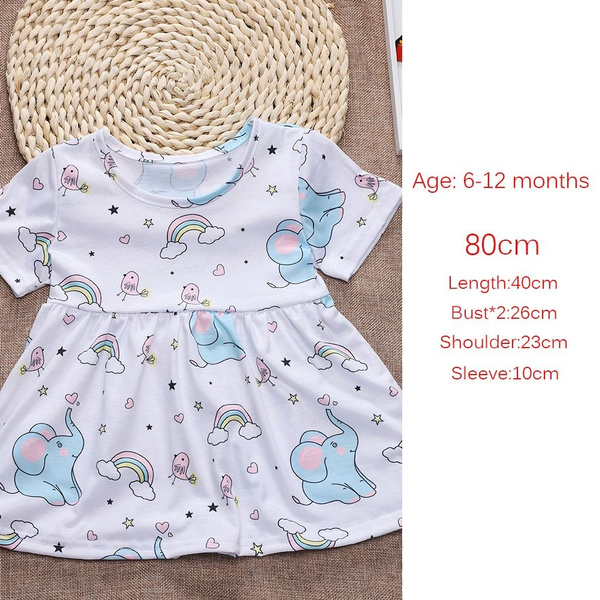 259b8ca13a926 Wish | New Summer Sundress Princess Outfits Short Sleeves Baby Girl Dress  Elephant Printed Rainbow