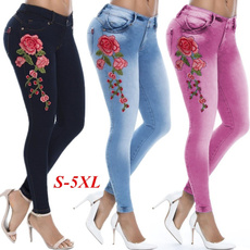 Women Pants, Floral print, high waist, Elastic