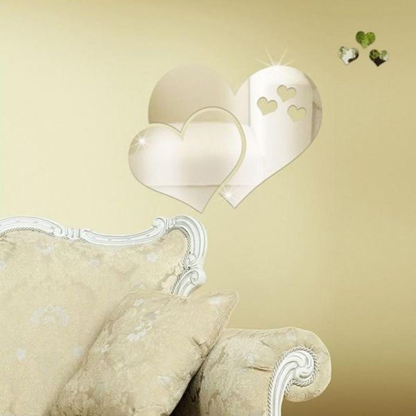 Wish | 3D Mirror Wall Stickers Love Heart Decal DIY Bedroom Art ...