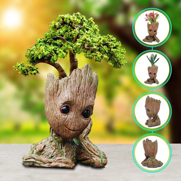 Flowerpot Treeman Baby Groot Succulent Planter Cute Green Plants Flower Pot With Hole Pen Holder Best Gift