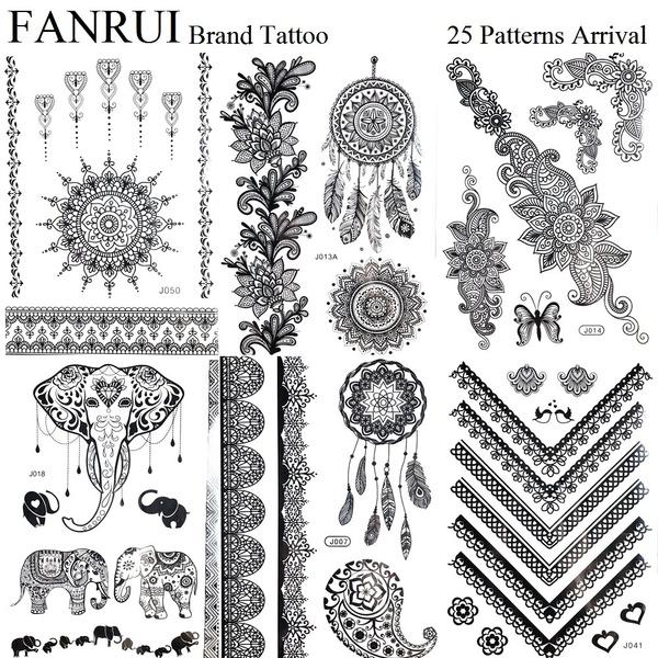 Temporary Dream Catcher Tattoo Design Sticker Black