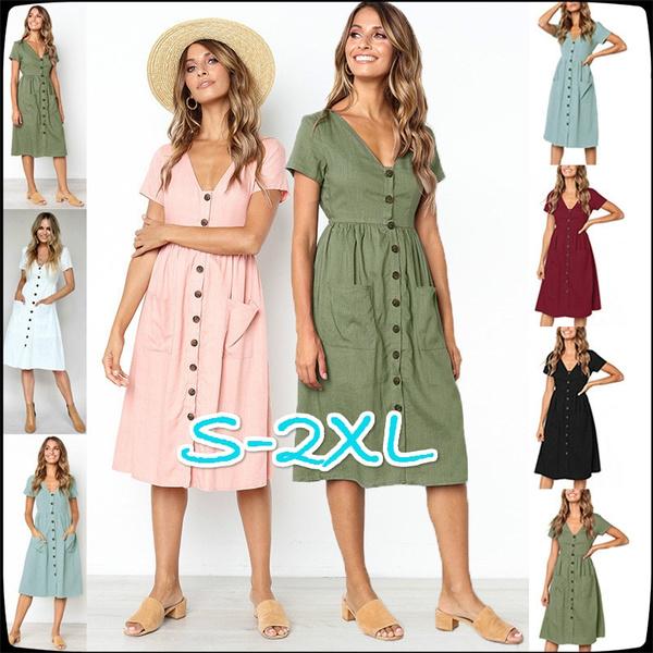 d516445c8c585 Summer Fashion V Collar Button Pocket Short Sleeved Dress Kleider ...