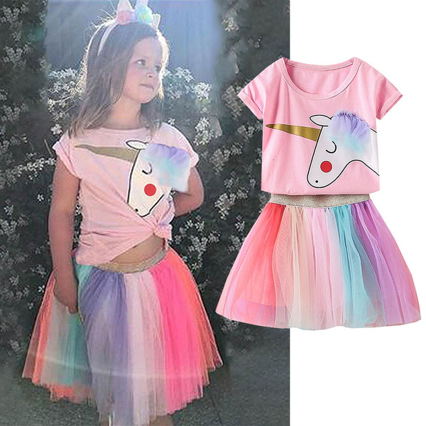 fc93418bc6cb Unicorn Two Piece Set New Fashion Summer Casual Girls Short Sleeve Unicorn T -shirt Top Lace Rainbow Color Tutu Skirt Outfits Suits Kid Clothes