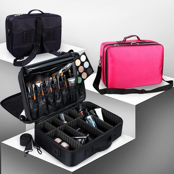 Wish | 2018 New 2/3 Layer Black Makeup Bags Women Cosmetic Bags Mackup  Organizer High Quality Mackup Brush Set Case Mackup Tool Bags Makeup  Storage Cases ...