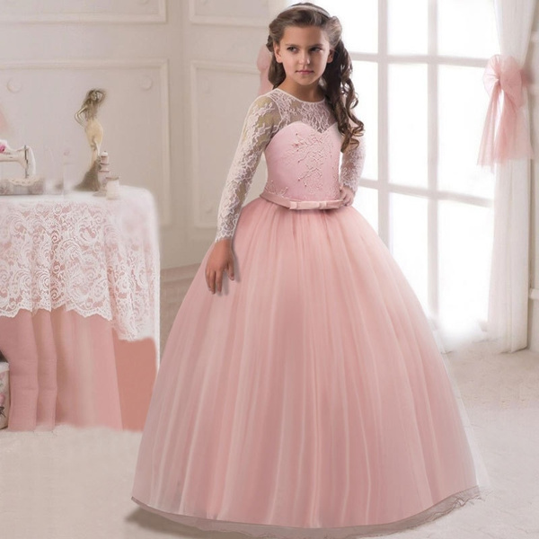 f2337e4105f69 5-12 Years Girls Long Sleeve Maxi Dress Kids Girl Cosplay Clothing Costumes  Princess dress Children Wedding Dresses