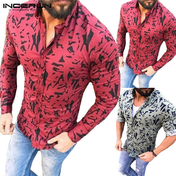 a3cbb71db0 S-XXXL 2018 New Arrival Design Totem Floral Shirt Slim Korean Mens  Long-sleeved Shirt Personalized Men Shirts