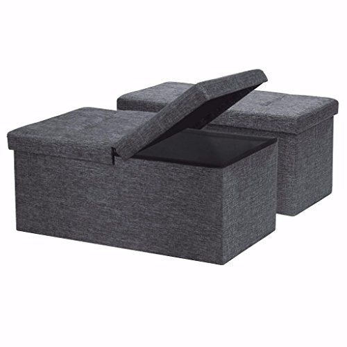 Strange Otto Ben 30 Storage Ottoman 2Pc Set Folding Toy Box Chest With Smart Lift Top Linen Fabric Ottomans Bench Foot Rest For Bedroom Dark Grey Andrewgaddart Wooden Chair Designs For Living Room Andrewgaddartcom