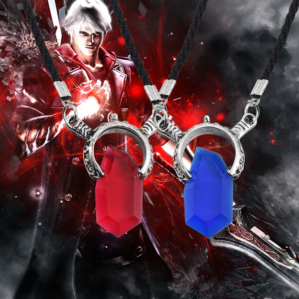 Anime Game Jewelry Cosplay Dmc Devil May Cry 5 Necklace Crystal Unisex Dante Pendants Unisex Rope Chain Necklaces Colar