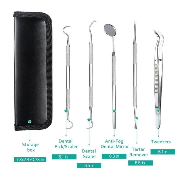 Wish | Professional Dental Oral Hygiene Kit 5 Tools Deep Cleaning Scaler Teeth Care Set