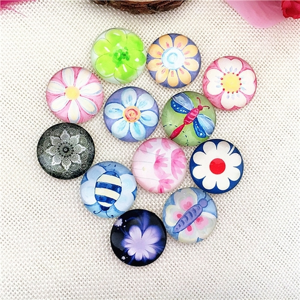 Round Mixed Mosaic Supplies Crafted Handcrafted Tiles 10pcs for Jewelry Making