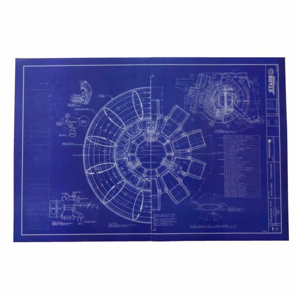 Iron Man Design Drawings Arc Reactor Blueprint Poster Wall Paper Pictures Sticker Decor For Living Room Bedroom