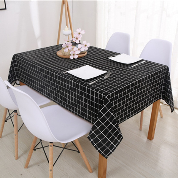 Wish Cotton Linen Table Cloth Country Style Plaid Print Multifunctional Rectangle Cover Picnics Tablecloth Home Kitchen Party Decoration
