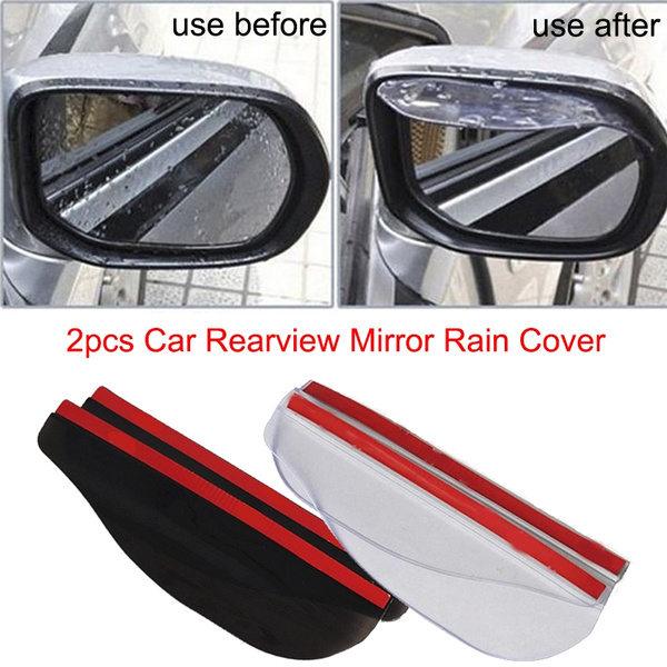 2x Black Car Rearview Mirror Rain Water Rainproof Eyebrow Cover Side Shield 0P