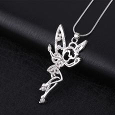 crystal pendant, fairynecklace, Tinker Bell, silver plated
