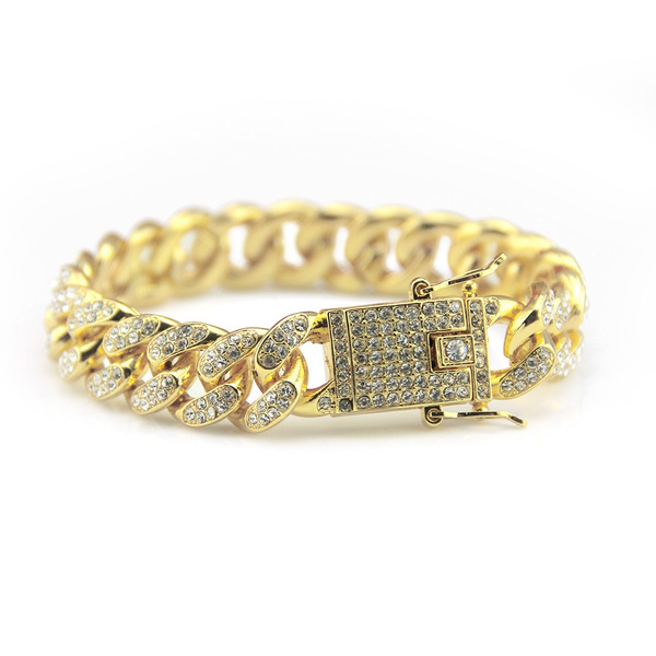 Men Zircon Curb Cuban Link Bracelet Hip Hop Jewelry Gold Silver
