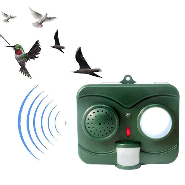 New Solar Bird Repeller Acousto-Optic Repellent Ultrasonic Animal Pigeon  Deterrent