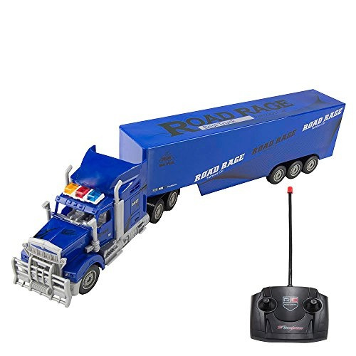 1:15 Scale Electric RC Car Remote Control Super Duty Big Rig Transport  Semi-Truck Trailer with Lights & Sounds, Battery Operated RC Tractor  Vehicle,