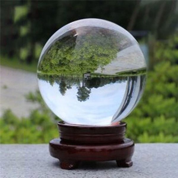 Clear Crystal Photography Lens Ball Photo Prop Background Quartz Home Decor 80mm