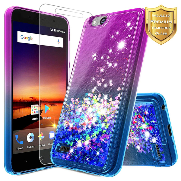best website b8188 ae62a NageBee Glitter Quicksand Liquid Floating Sparkle Bling Case w/ [Tempered  Glass Screen Protector] For ZTE ZFive G / ZFive C (Z557BL, Z558VL), ZTE ...