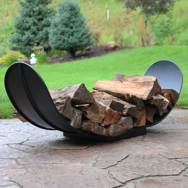 Amazing Sunnydaze 4 Foot Curved Firewood Log Rack Indoor Or Outdoor Fireplace Wood Storage Holder Black Steel Gmtry Best Dining Table And Chair Ideas Images Gmtryco
