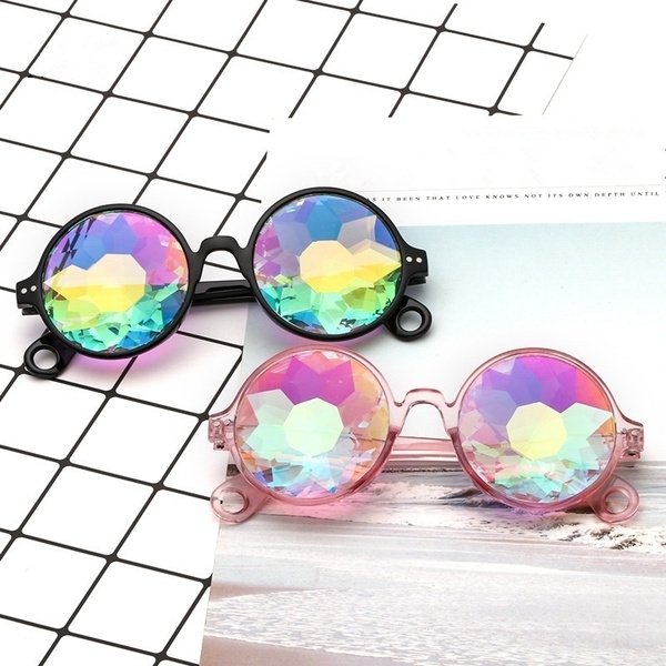 Round Kaleidoscope Glasses Rave Festival Men Women Holographic Kaleidoscope Sunglasses Colorful Celebrity Party Eyewear by Wish