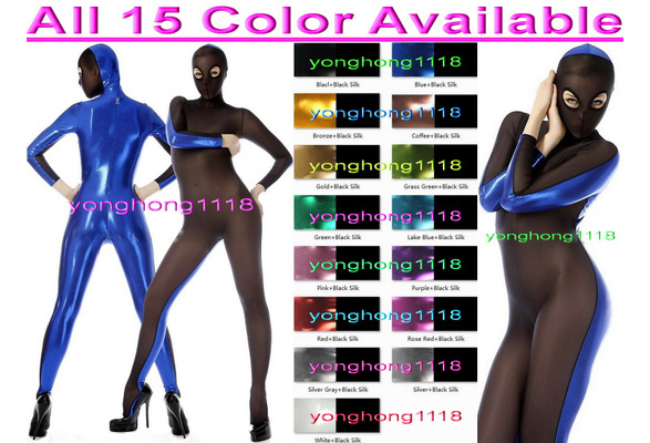 ab9ee9da562 Sexy 15 Color Shiny Metallic and Spandex Silk Bodysuit Catsuit Costumes  Unisex Sexy Body Suit Costumes With Open Eyes Halloween Party Fancy Dress  Cosplay ...