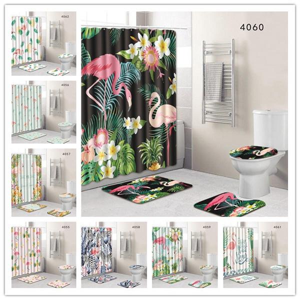doormat, flamingo, bathroomdecor, waterproofcurtain