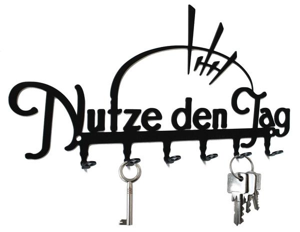 CARPE DIEM schwarz nutze den Tag Schlüsselbrett // Hakenleiste 6 Haken
