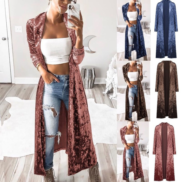cardigan, velvet, Long Coat, Long Sleeve