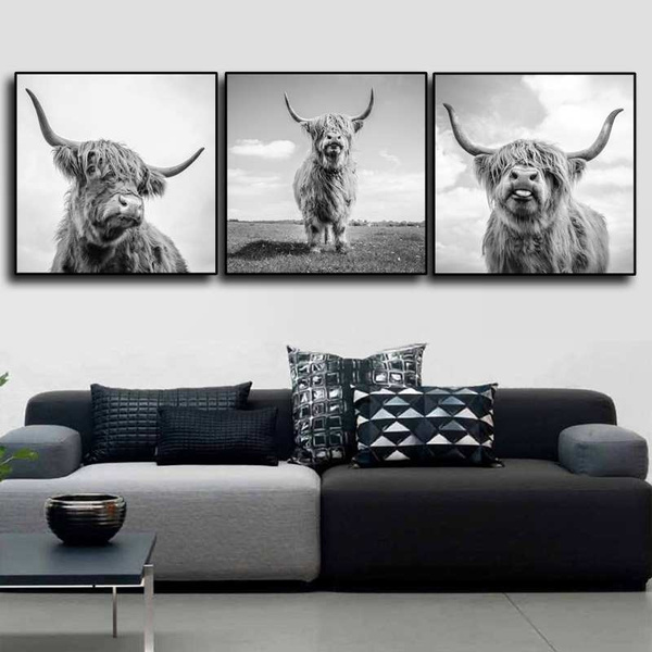 Nordic Style Wall Art Freedom Highland Cow Print And Poster Longhorn Cattle Canvas Paintings For Living Room Decor Black White Yak