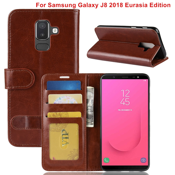 low priced 7da55 5a368 For Samsung Galaxy J8 2018 Eurasia Edition case Flip Leather Wallet Cases  Phone Cover with Card Slots Stand For Samsung J8 2018 Eurasia Edition case
