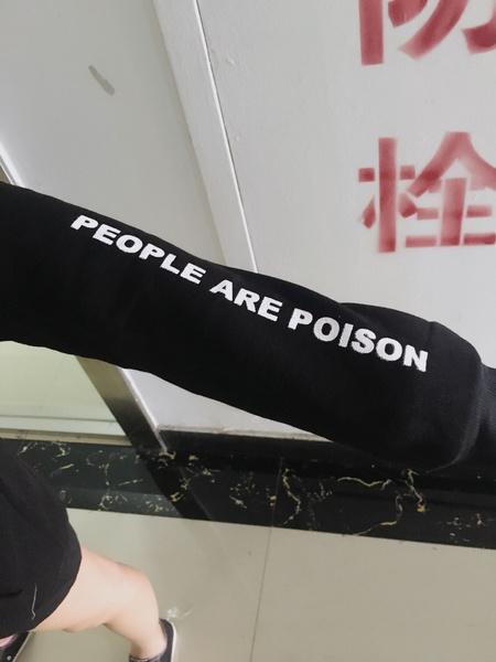 Wish People Are Poison Rose Sleeve Print Hoodie Sweatshirt Black