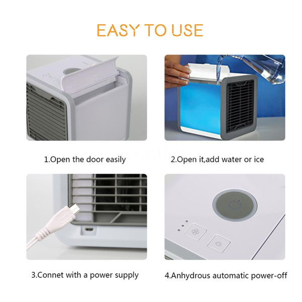 Wish | Mini Air Quiet LED Personal Space Quick U0026 Easy Way To Cool Any Room Air  Conditioner Home Office Appliance Refrigerant Small Fan Air Conditioning