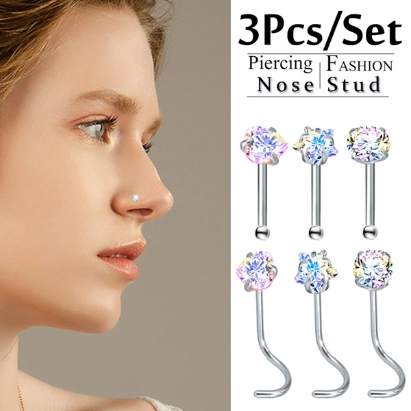 3 Pcs Diamond Rainbow Heart Star Round Nose Rings No Allergic