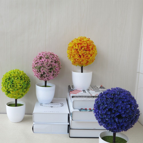 Fake Colorful Outdoor Indoor Ball Tree Pot Culture Bonsai Potted Plants