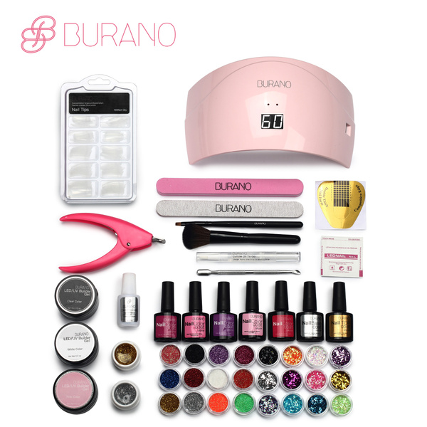 Wish Burano Nail Set Nails 24w Led Lamp Gel Art Polish Manicure Uv Tools 066