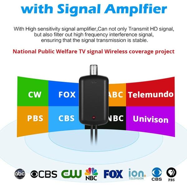 Indoor HDTV Antena Digital TV Antenna + Signal Amplifier Booster VHF UHF  Cable TV Surf Fox Antenas TV Radius Antennas DVB-T/T2