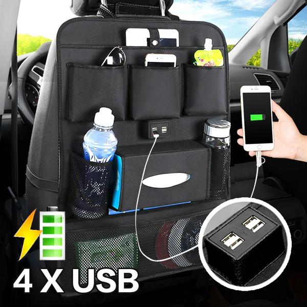Car Seat Back Backseat Organizer 4 Usb Charger Car Organizer Bag