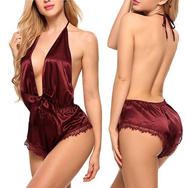 Halter, sexy pajamas, pajamas nightie intimates, V-neck