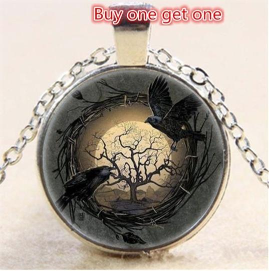 Necklace Crow Photo Tibet Silver Cabochon Glass Pendant Chain Necklace