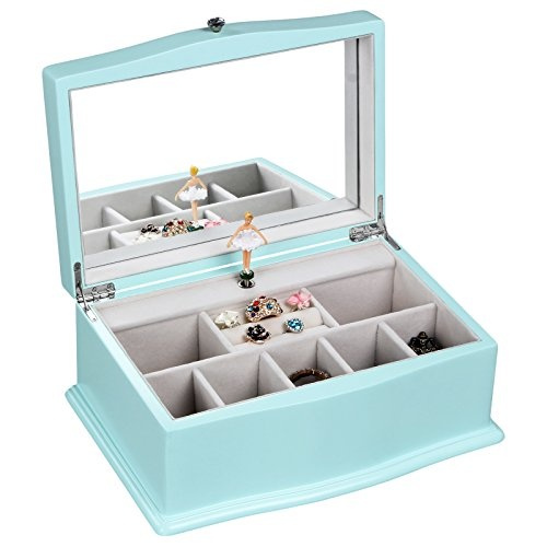 Songmics Girls Music Jewelry Box With Ballerina Unique Tiffany Blue Wooden Musical Box With Large Mirror Ujow01q