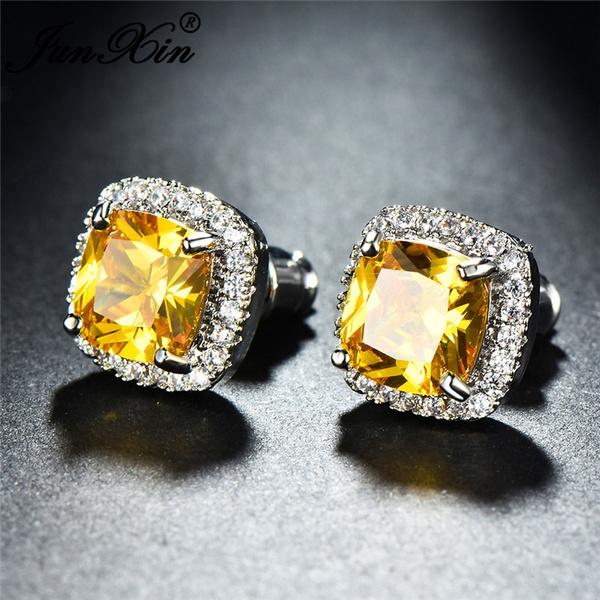 Junxin Elegant 925 Sterling Silver Princess Cut Yellow Topaz Diamond Cz Stud Earrings Manure Square Ear Studs Wedding Jewelry For Women