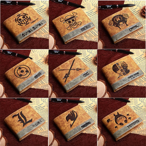 Anime One Piece DeathNote Short Leather Wallet Coin Purse Card Holder Bag