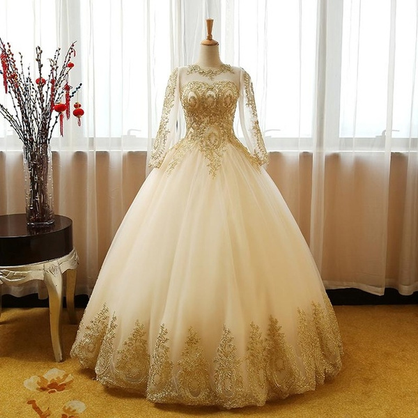 0c8bdb10ab1 Champagne Princess Quinceanera Dresses Long Sleeve Ball Gown Girls ...